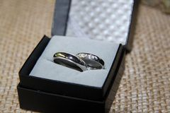 Wedding rings wedding day Stock Images