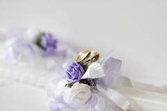 Wedding rings. Whit wedding candles stock photos