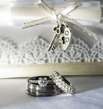 Wedding Rings on White Background Stock Photography