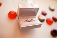 Wedding rings in white box lie on a table surrounded by decorati Stock Image