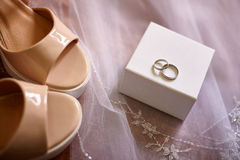Wedding rings on white box Stock Photography
