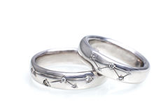 Wedding rings of white gold with diamonds Stock Photography
