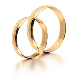 Wedding rings on white. Royalty Free Stock Images