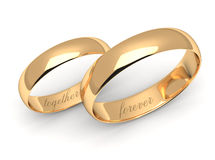 Wedding rings on white. Stock Photo