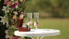 Wedding rings of white gold in the wooden box on the table. Glasses decorated with rorses and berries. Decorations for stock footage