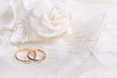 Wedding rings and white rose. On lace light background stock photos