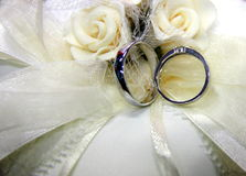 Wedding Rings and white roses. Two wedding rings and white roses on white pillow Royalty Free Stock Photo