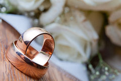 Wedding rings on the wood panel.  Royalty Free Stock Photo