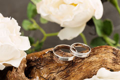Wedding rings on wood Stock Images
