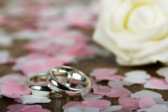 Wedding rings on a wooden background with confetti Stock Images