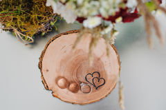 Wedding rings on a wooden stump in a rustic style Royalty Free Stock Images