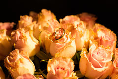 Wedding rings on the yellow roses Royalty Free Stock Image