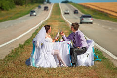 Wedding on the road Stock Image