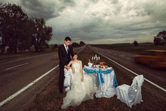 Wedding on the road Royalty Free Stock Image
