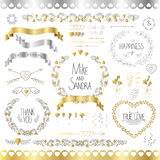 Wedding romantic collection with labels, ribbons, hearts, flowers, arrows, wreaths, laurel and birds. Graphic set in Royalty Free Stock Photography
