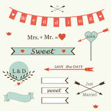 Wedding romantic collection of labels, ribbons, hearts, flowers, arrows, wreaths of laurel vector. Stock Image