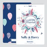 Wedding romantic floral Save the Date invitation Royalty Free Stock Photography