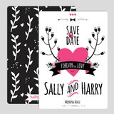 Wedding romantic floral Save the Date invitation Stock Photos