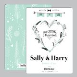 Wedding romantic floral Save the Date invitation Stock Images