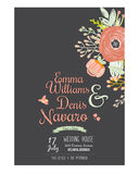 Wedding romantic floral Save the Date invitations. Vintage romantic floral Save the Date invitation in bright colors in vector. Wedding calligraphy card template Royalty Free Stock Images