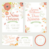 Wedding romantic floral Save the Date invitations. Vintage romantic floral Save the Date invitation in bright colors in vector. Wedding calligraphy card template Stock Photos