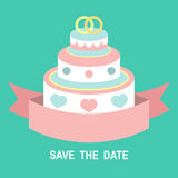 Wedding romantic invitation card with ribbon, ring cake in flat style. Save the Date invitation in vector. Stock Images