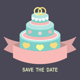 Wedding romantic invitation card with ribbon, ring cake in flat style. Save the Date invitation in vector. Stock Photo