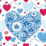Wedding romantic seamless pattern with hearts, flowers in retro style.  stock illustration