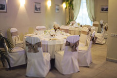 Wedding room. Prepared for the party Royalty Free Stock Photos