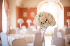 Wedding room and bouquet. Wedding room and whie bouquet Stock Photo