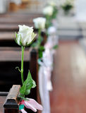Wedding rose. A rose on a bench in a wedding day Royalty Free Stock Photography