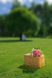 Wedding rose bouquet on a basket. Bouquet of newly-married couple on a basket Royalty Free Stock Image