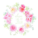 Wedding rose and peonies wreath vector card Stock Image