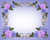 Wedding Roses Border Blue and Lavender Stock Images
