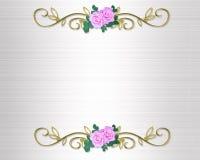 Wedding Roses invitation satin Stock Images