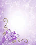 Wedding Roses Lavender Background. Corner design element for Valentine or wedding invitation background, border or frame with copy space