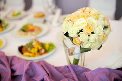 Wedding Roses on Table Royalty Free Stock Image