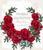 Wedding roses wreath Vector. Beautiful red flowers garland. Invitation card elegant decor realistic 3d illustrations. Wedding roses wreath Vector. Beautiful red vector illustration