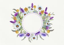 Wedding round frame of wild flowers. Watercolor. Flower arrangement. Greeting card template design. Invitation