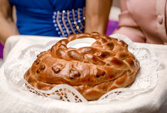 Wedding round loaf Stock Photos