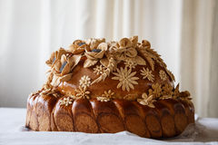 Wedding Round Loaf With Decoration Royalty Free Stock Image