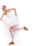 Wedding. Running bride funny woman in sport shoes Stock Photos