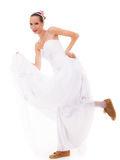 Wedding. Running bride funny woman in sport shoes Stock Photo