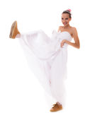 Wedding. Running bride funny woman in sport shoes Royalty Free Stock Photo