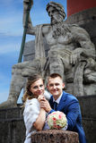 Wedding in Russia, bride and groom are photographed near attract Stock Photos