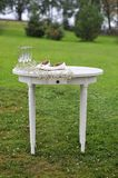 Wedding rustic wooden table. Wedding rings with wooden table royalty free stock images