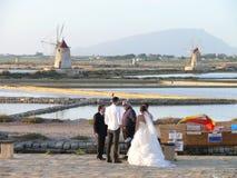 Wedding in saline Mozia. Saline Mozia near Trapani in Sicily Royalty Free Stock Photos