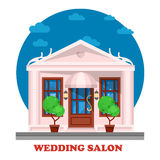 Wedding salon for marriage ceremony building. Tradition of matrimony or wedlock, espousal or nuptial, bridal or remarriage. Husband and wife place for Stock Photography
