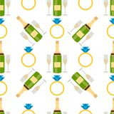 Wedding salon ornate rings and champagne seamless pattern gold jewelry romance bridal background vector illustration. Wedding salon ornate rings and champagne vector illustration