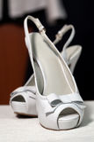 Wedding sandals. White wedding sandals in detail Stock Photos